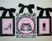 Zebra swirl vine purse shoe lipstick CUSTOM letters wall art decor hanging children hot pink black white handpainted Set of 3 painting