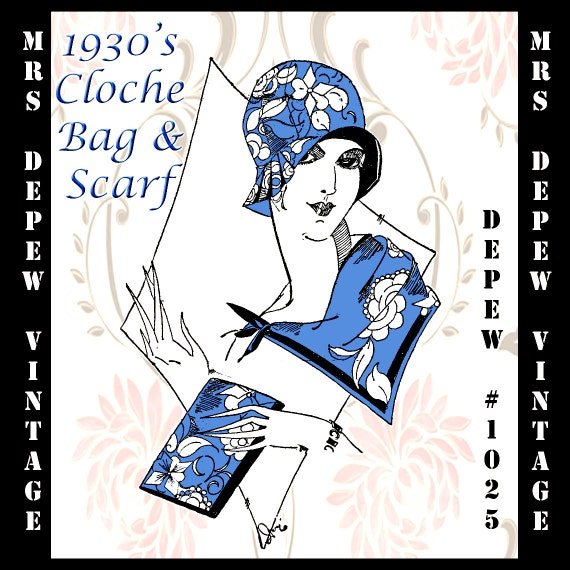 1930s Style Hats | 30s Ladies Hats 1930s Cloche Hat Clutch Bag and Scarf PDF Depew 1025 -INSTANT DOWNLOAD- $7.50 AT vintagedancer.com