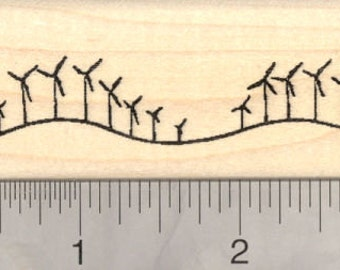 Wind Farm Rubber Stamp, Line of windmills, Wind Turbines H18521 Wood Mounted