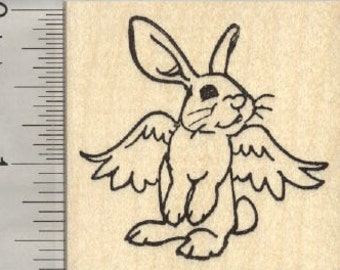 Rabbit Angel Rubber Stamp, Bunny Pet Loss, House Pet E27204 Wood Mounted