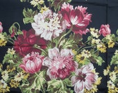 """Vintage 40's Black Background Rayon Faille Large Floral Fabric...UNUSED 1 yard+ x 46"""" wide...Gorgeous!"""