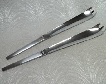 Pr Vintage Mid-century MODERNIST Stainless Steel Salad Servers~Italy~Patented~Kartell, Panton Era