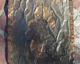 "SALE: Vintage Hand Hammered Copper 9"" x 9"" Picture~40's Standing Kitty Holding Up New Dress~Cute!"