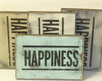 HAPPINESS SIGN / happiness / be happy / happy sign / hand painted sign / happyness / happiness wall sign / wood happiness sign / be happy