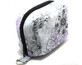 Essential Oil Case Holds 6 Bottles Essential Oil Bag Light Purple and Black Flowers on Gray