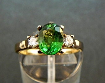 AAAA Tsavorite Green Garnet   8x6mm  1.42 Carats   with .14 cts of Diamonds 14K white or yellow gold ring 1122