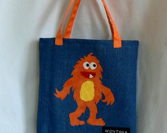 Kids Tote Bag|Monster Tote Bag|Children's Book Bag|Personalized Kids Tote Bag|Christmas Gift Bag|Toddler Tote Bag|Library Book Bag