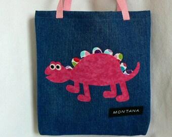 Kids Pink Dinosaur Tote Bags|Christmas Gift Bag|Children's Book Bag|Personalized Tote Bag|Dinosaur Preschool bag|Trick or Treat|Toddler Bag
