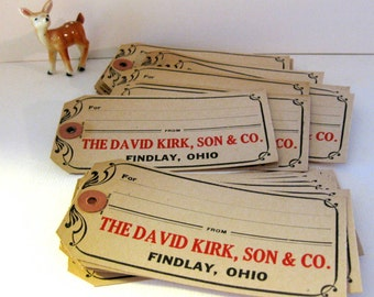 Vintage Department Store Shipping Tags (4), Findlay, Ohio, Use for Party Tags, Holidays