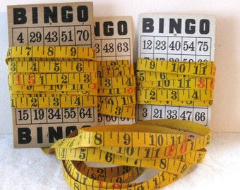 Vintage Carpenters Measuring Tape for Altered Art, Rustic Black and Red Numbers - on Vintage Bingo Card