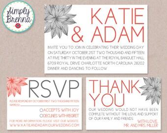 Printable Wedding Suite Invitation RSVP Thank You Set - Printable Modern Floral Wedding Invitation Set DIY Pick Your Colors