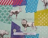 SAFARI ANIMALS Seafoam Mint Green Echino Zoo Decoro Japanese Fabric Import - Lightweight Canvas Japan JG-96000-601B by Etsuko Furuya Kokka