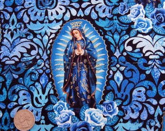 LADY of GUADALUPE Blue Cotton Quilt Fabric by the Yard, Half Yard, FQ Virgin Mary Mexico City Catholic Holy Mother Nuestra Señora Spanish