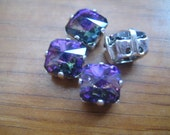 Lot of 4 8mm Heliotrope Fancy Square Swarovski Rhinestones in Silver Plated Sew on Settings