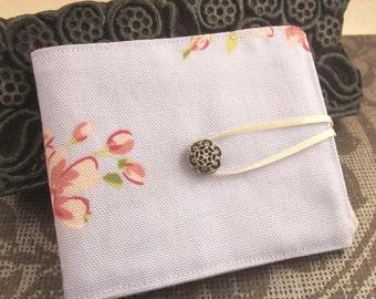 Pale Blue Floral Cotton Felt Needlebook