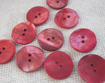 10 Small Pink Shell Buttons
