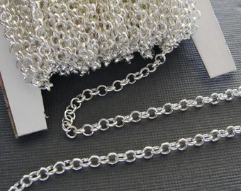7 ft Silver Plated Rollo Chain, Jewelry chain, 3mmx1mm CHN804