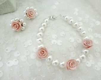 Medium Pink Flower Girl Swarovski Pearl Stud Earrings and Matching Bracelet, with Gift Box, Flower Girl Jewelry