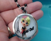 OOAK Blonde Paris Girl Shadowbox Necklace Oui Oui