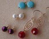 Interchangeable Gold Swirl Earrings