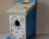Vintage Broken China Ceramic Shards, Joyful Floral Pattern and Country Chic Painted Birdhouse