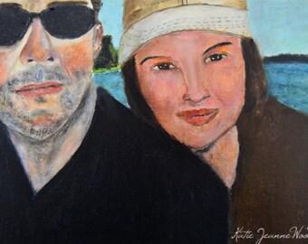 Original Acrylic Portrait Art Painting. Man & Woman Couple Portrait. At the Lake Painting. Black Sunglasses. Home Wall Decor