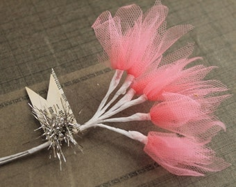 NEW! Pink Tulle Millinery Sprays -  Wired Coral Pink Tulle Stems  - Wedding Corsage and Boutonniere Supply