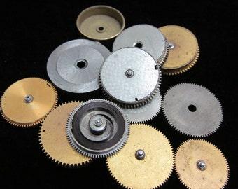 12 Antique Vintage Clock Watch Parts Cogs Gears Assemblage Steampunk Industrial Art Goodies CG 77