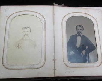 Gorgeous Antique Photo Album with a few photos one tintype