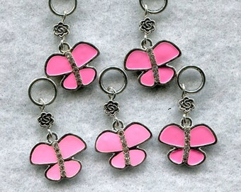 Pink Butterfly Stitch Markers LACE or Socks Rhinestone Body Enameled Set of 5 /SM149