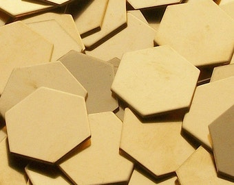 NuGold Hexagons - 20 ga, stamping blanks, Bopper, metal stamping blanks, stamping supplies, etching blanks, embossing blanks, hexagon blanks