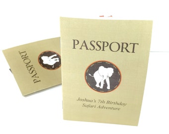 DIGITAL Sophisticated Safari Birthday Party Folded Passport Favor - Games and Coloring Pages
