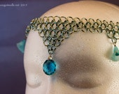 Chainmaille Circlet Baby Blue with Crystals and Acrylic Flowers