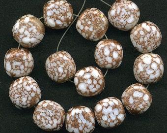 Vintage White & Aventurina Beads 15mm Three Sided Glass Matte Finish 2 Pcs.