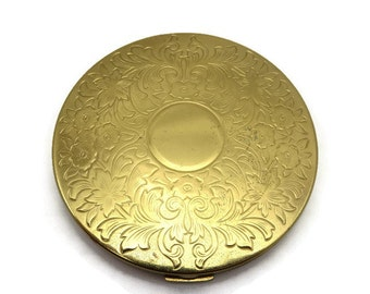 Elgin American Compact - Gold Tone Flowers American Beauty Powder