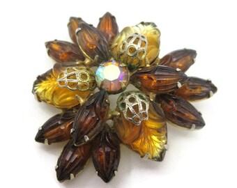 Rhinestone Brooch - Vintage Juliana Style, Amber, Brown, Molded Glass Stones, AB Rhinestone, Costume JEwelry