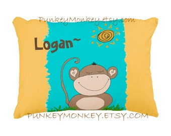 Monkey pillow personalized toddler pillow kids jungle safari bedding zoo animals monkeys teen girls boys