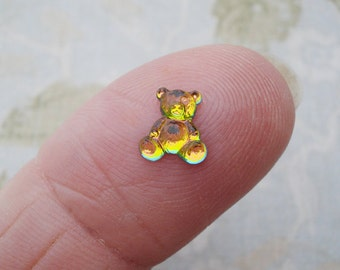 6 Tiny 8x8mm Teddy Bear Vitrail Silver Foiled Flat Back Pressed Glass Cabs or Cameo Stones