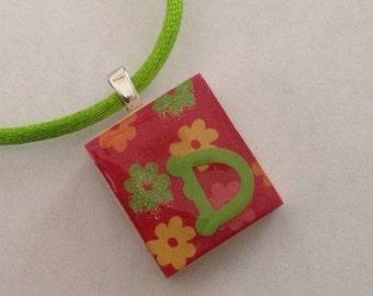 Floral Initial Single Letter Monogram Scrabble Tile Pendant Party Favor