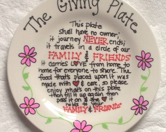 The Giving Plate Hand Painted Ceramic Plate Pink Flowers Plate, Christmas Gift, Birthday Gift, Hostess Gift, Secret Santa
