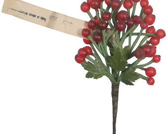 Vintage Millinery Glass Fruit Spray Frosted Red Berries Germany Circa 1950s VTG 014 FR