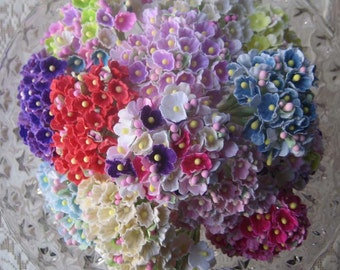 20 Bouquets Forget Me Nots Millinery Flocked Paper Flowers Pick Your Own Colors