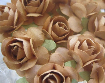 Paper Flowers 24 Petite Millinery Roses In Cocoa Brown
