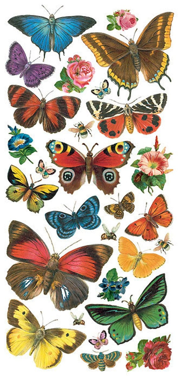 Self Adhesive Butterfly Stickers 1 Sheet Colorful Scrapbooking