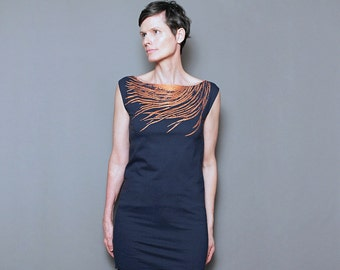 Lux Feather on Navy T Shirt  Dress - Womens Fashion - Metallic Copper Rust Feather Print - Day to Night