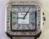 Sparkle Square.. Large Silver Rhinestone Square Watch Face, Silver Plated, Ribbon Solid Bar Watch Face, Interchangeable