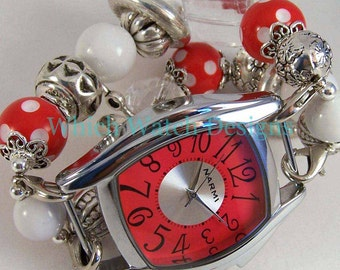 Connie Red.. Red and White Polka-Dot Chunky Interchangeable Watch Band with Rings