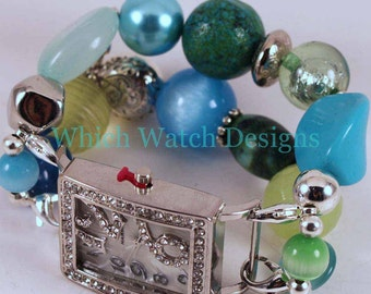 Caribbean Breeze.. Chunky Lime, Aqua and Teal Interchangeable Beaded Watch Band