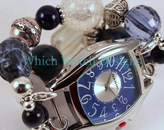 In the Navy.. Chunky Navy Blue and White Interchangeable Beaded Watch Band, Sodalite, Wood