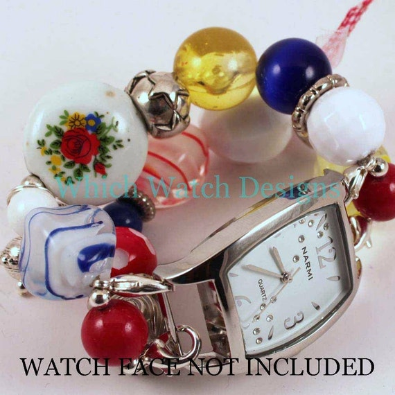 Shabby Chic Primary.. Red, Yellow, Blue and White Interchangeable Beaded Watch Band, Vintage Style